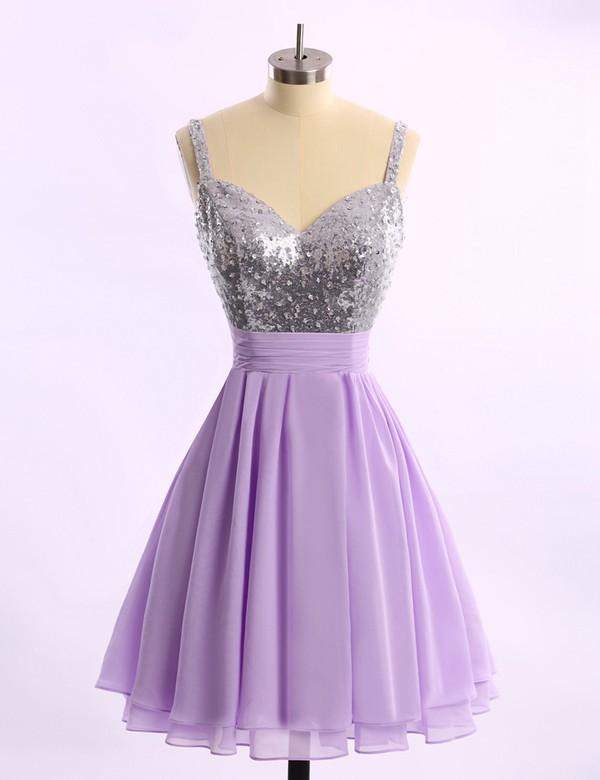 Short/Mini Chiffon Sequined Ruffles Popular V-neck Royal Blue Prom Dresses #LDB02014578