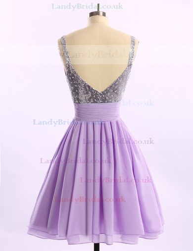 Short/Mini Chiffon Sequined Ruffles Popular V-neck Royal Blue Prom Dresses #LDB02014578