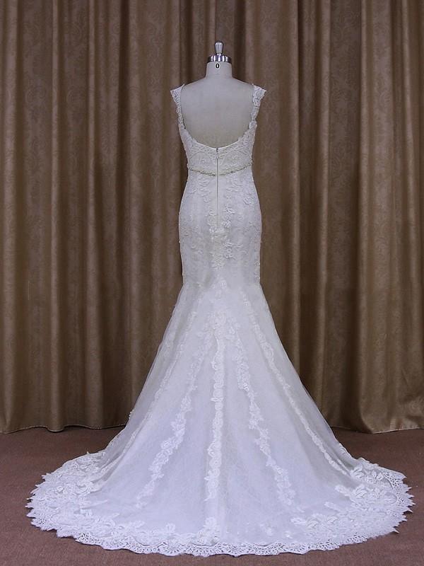 Trumpet/Mermaid Tulle Appliques Lace White V-neck Latest Wedding Dress #LDB00021945