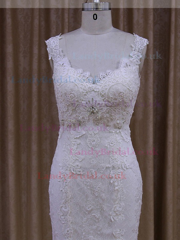 Trumpet/Mermaid Tulle Appliques Lace White V-neck Latest Wedding Dress #LDB00021945