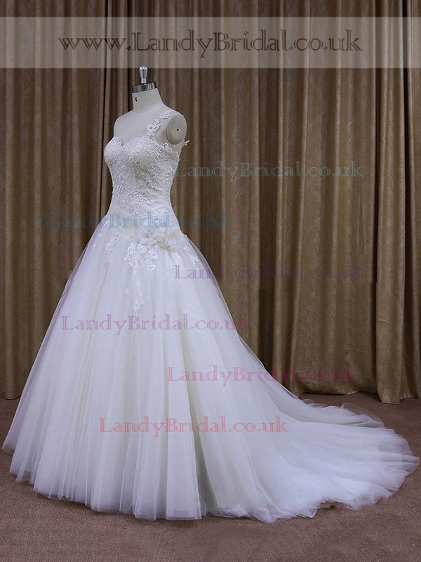 One Shoulder White Tulle Appliques Lace Pretty Ball Gown Wedding Dress #LDB00021947