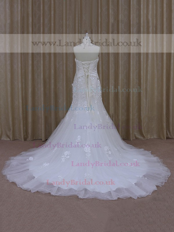 Tulle Appliques Lace White Court Train Trumpet/Mermaid Wedding Dress #LDB00021948