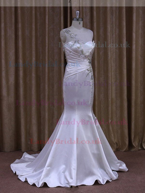 Trumpet/Mermaid Scoop Neck Satin Tulle Beading Ivory Wedding Dress #LDB00021950