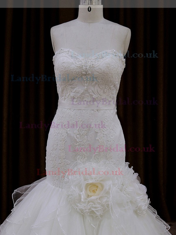 Online Sweetheart Tulle Appliques Lace Trumpet/Mermaid Ivory Wedding Dress #LDB00021952