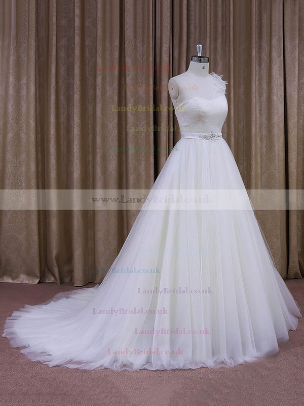 Famous White Ball Gown Tulle Sashes/Ribbons One Shoulder Wedding Dress #LDB00021956