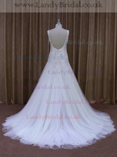 Discount Tulle with Beading Court Train White V-neck Wedding Dress #LDB00021960