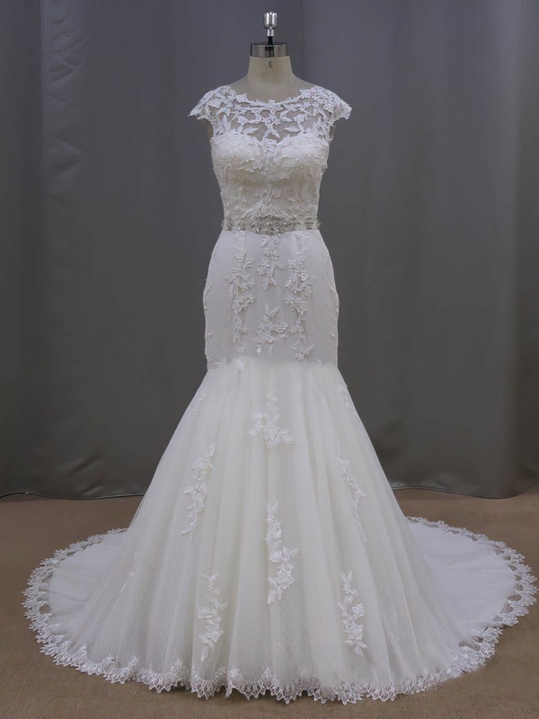 Scoop Neck Cap Straps Appliques Lace Ivory Tulle Trumpet/Mermaid Wedding Dress #LDB00021962
