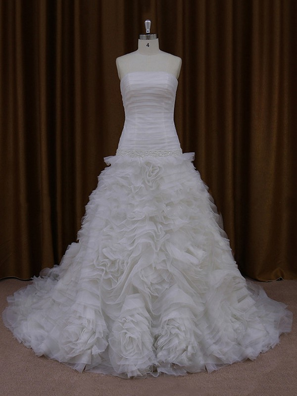 Ivory Tulle with Beading Court Train Vintage Strapless Wedding Dress #LDB00021975