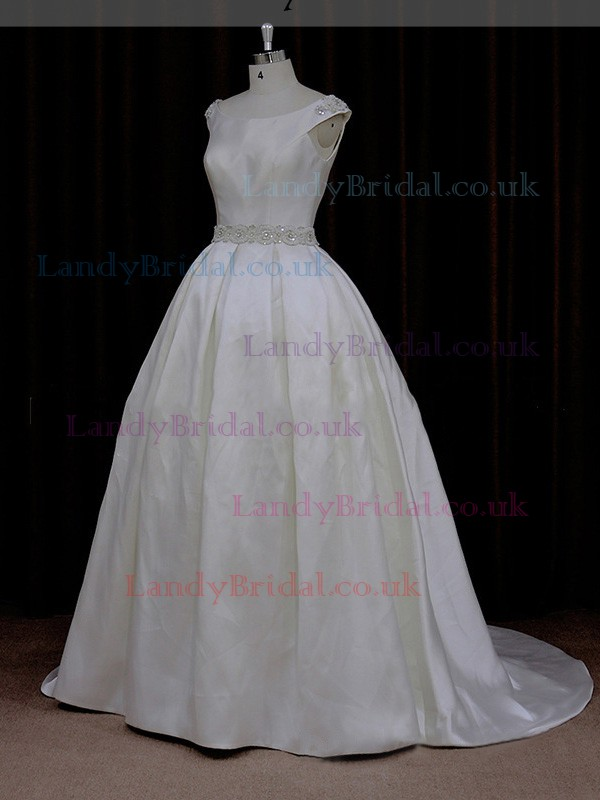 Scoop Neck Satin with Beading Court Train Ivory Modest Wedding Dress #LDB00021976