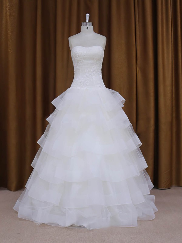 Elegant Sweetheart Tulle Appliques Lace Floor-length White Wedding Dress #LDB00021980