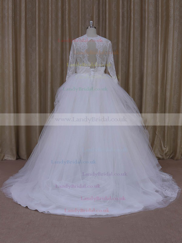 Ball Gown Ivory Tulle Appliques Lace V-neck Long Sleeve Wedding Dress #LDB00021982