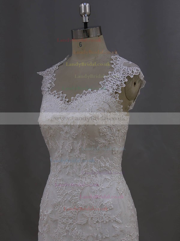 Ivory Tulle Sweep Train Appliques Lace Hot Trumpet/Mermaid Wedding Dress #LDB00021993