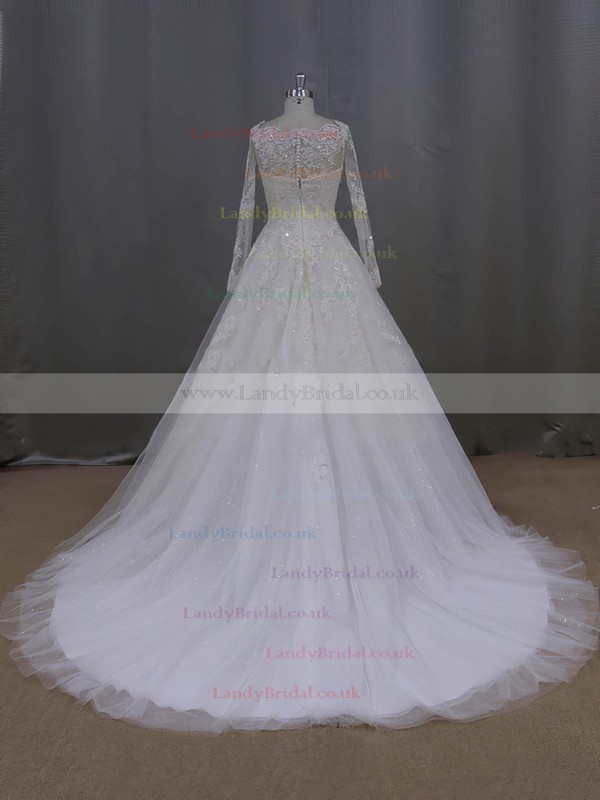 Long Sleeve Scoop Neck Ivory Tulle Beading Appliques Lace Wedding Dress #LDB00021996