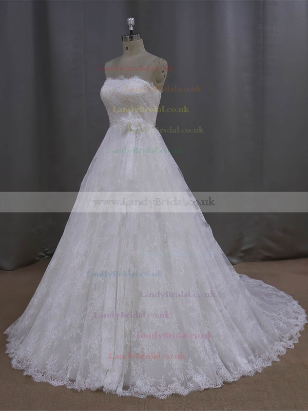 Ivory Strapless Lace Sashes / Ribbons Court Train Lace-up Wedding Dresses #LDB00021997