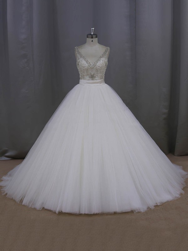 Ball Gown Ivory Tulle Beading Open Back V-neck Wedding Dress #LDB00021998