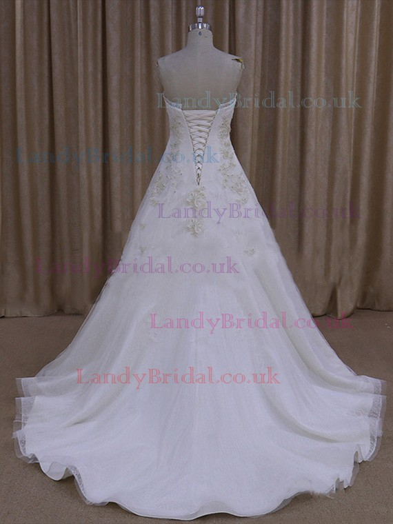 Court Train Lace-up Tulle Satin Appliques Lace Ivory Strapless Wedding Dresses #LDB00021999