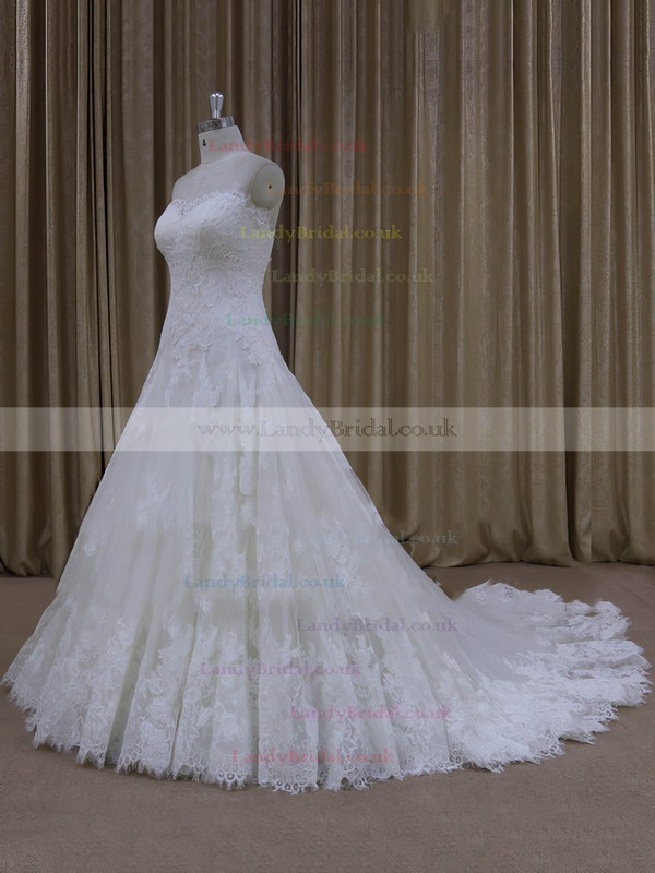 Ivory A-line Tulle Appliques Lace Sweetheart Lace-up Wedding Dress #LDB00022000