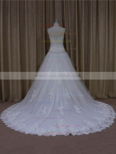 Online Sweetheart White Tulle Appliques Lace Court Train Wedding Dresses #LDB00022001