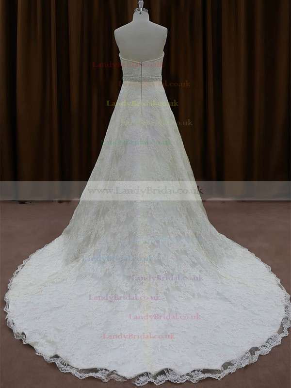 Chapel Train Ivory Lace Beading Famous Sweetheart Wedding Dress #LDB00022002
