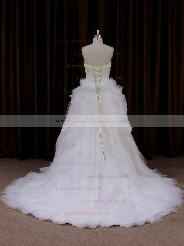 Princess Lace-up Tulle Cascading Ruffles Ivory Sweetheart Wedding Dresses #LDB00022003