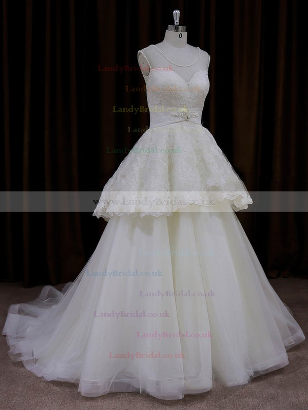 Ivory Scoop Neck Lace Tulle Beading Princess Discount Wedding Dress #LDB00022004