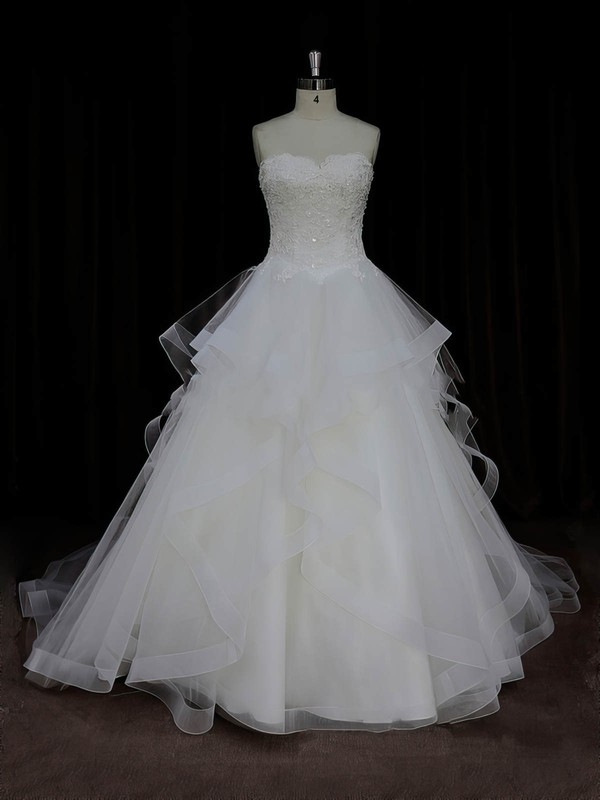 Ball Gown Ivory Tulle Appliques Lace Boutique Sweetheart Wedding Dresses #LDB00022005