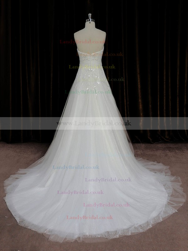 Modest A-line Lace Tulle Crystal Detailing Ivory Court Train Wedding Dress #LDB00022006