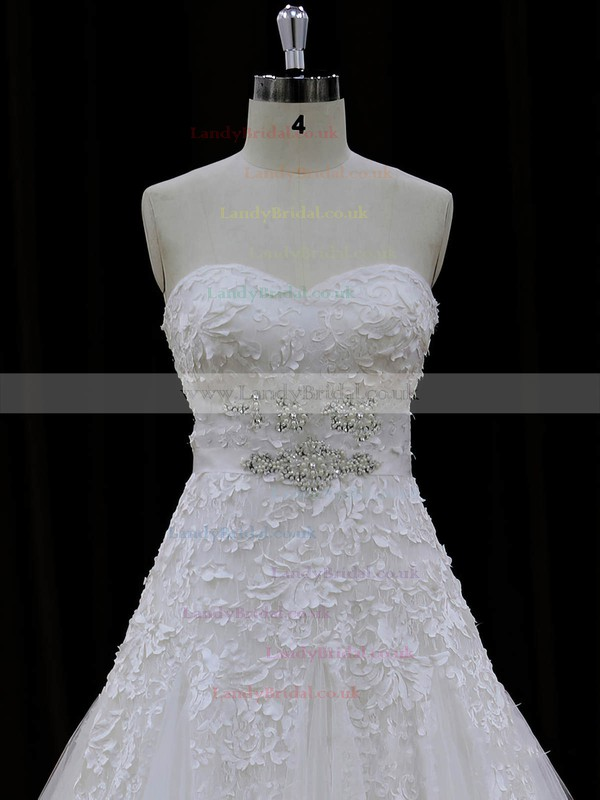 Sweetheart Ivory Lace Tulle Appliques Lace Chapel Train Lace-up Wedding Dresses #LDB00022007