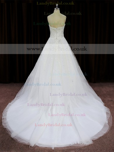 A-line Ivory Tulle Beading Unique Sweetheart Wedding Dress #LDB00022008