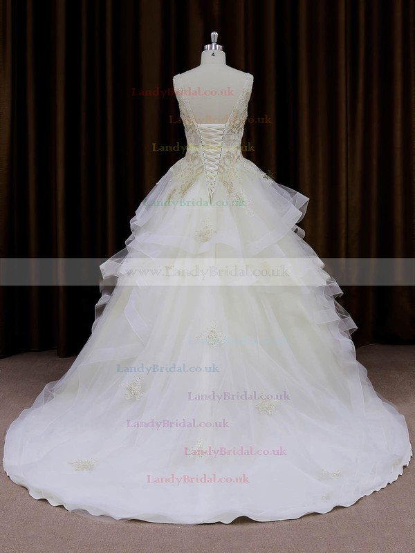 Ivory V-neck Organza Appliques Lace Princess Lace-up Wedding Dresses #LDB00022009