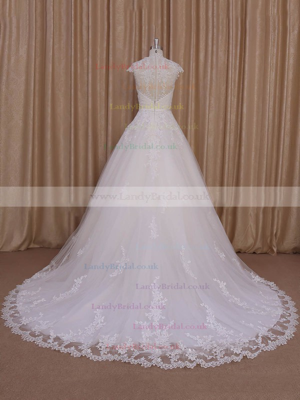 Sweetheart Cap Straps Ivory Tulle with Appliques Lace Court Train Wedding Dress #LDB00022010