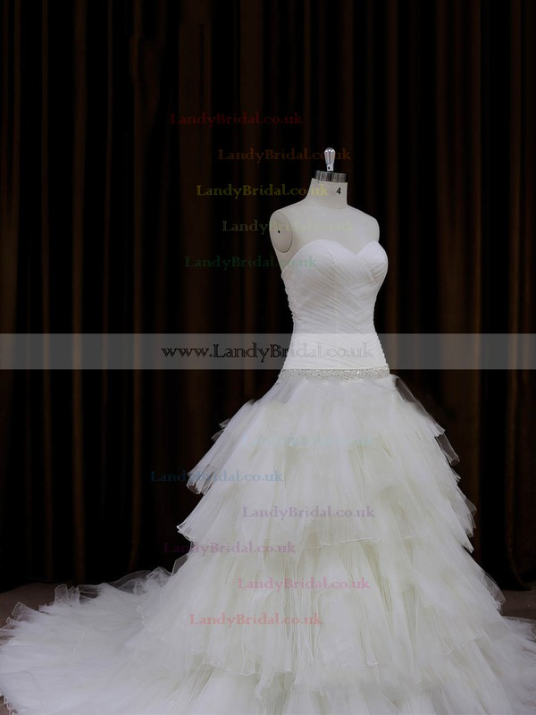 Princess Lace-up Tulle Tiered Chapel Train Ivory Wedding Dresses #LDB00022011