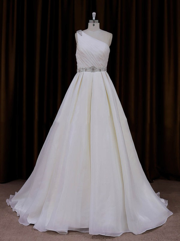 Elegant One Shoulder Organza Beading Ivory Sweep Train Wedding Dress #LDB00022012