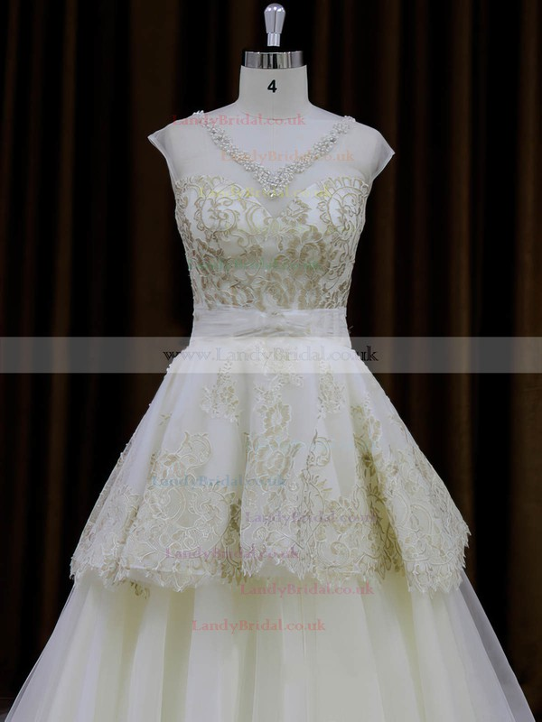 Ivory Princess Tulle Appliques Lace V-neck Simple Wedding Dresses #LDB00022013