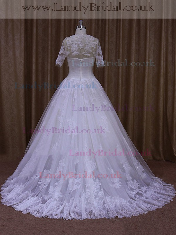 White Sweetheart Tulle Beading Affordable A-line Wedding Dress #LDB00022014