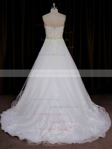 Sweep Train Ivory Tulle Satin Appliques Lace Sweetheart Wedding Dresses #LDB00022015