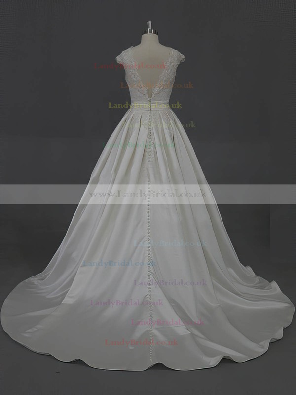 Scoop Neck Ivory Taffeta Appliques Lace Court Train Cap Straps Wedding Dress #LDB00022016