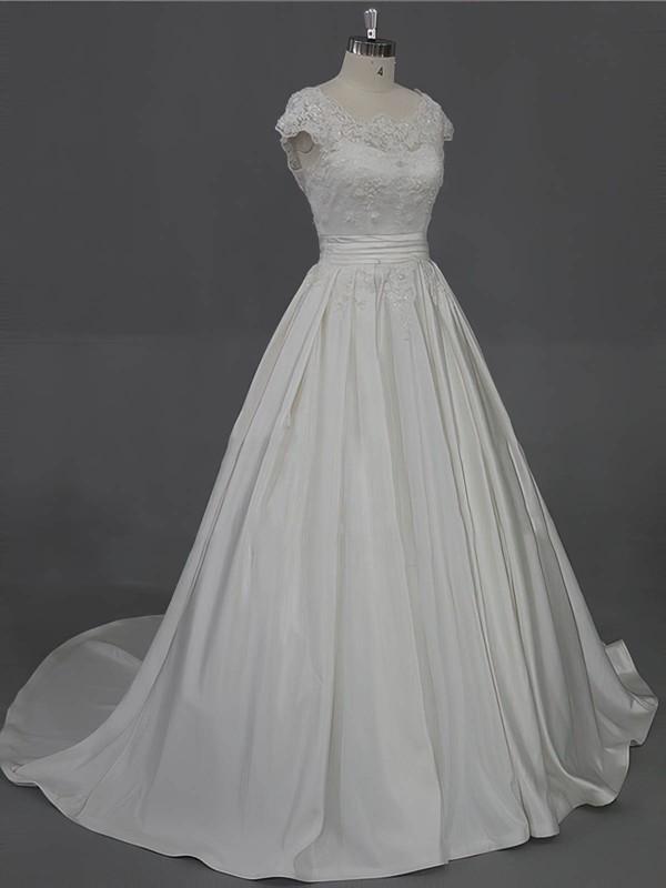 Scoop Neck Ivory Taffeta Appliques Lace Court Train Cap Straps Wedding Dress #LDB00022016