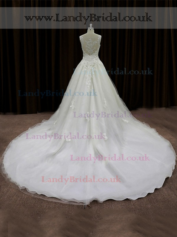 Ivory Chapel Train Tulle Appliques Lace Scoop Neck Wholesale Wedding Dresses #LDB00022017