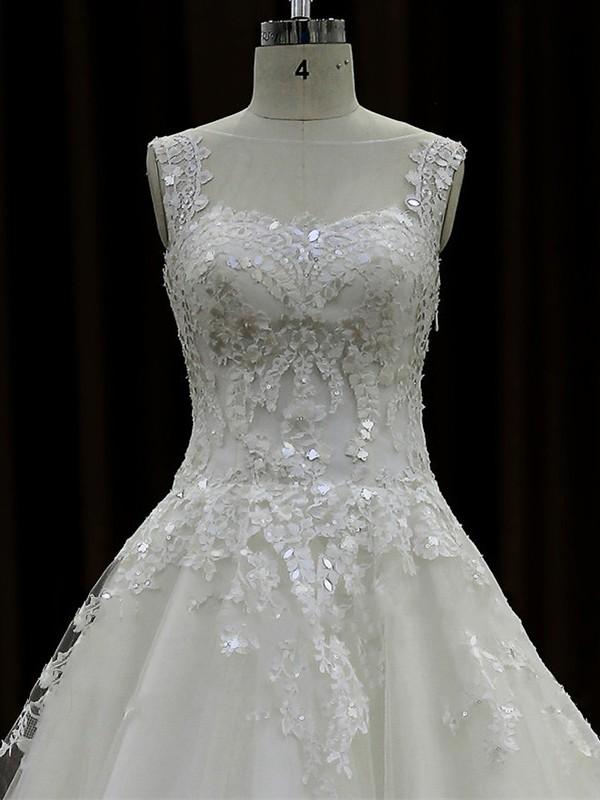 Ivory Chapel Train Tulle Appliques Lace Scoop Neck Wholesale Wedding Dresses #LDB00022017