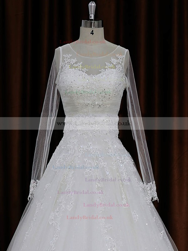 A-line Tulle Appliques Lace Ivory Long Sleeve Chapel Train Wedding Dresses #LDB00022018