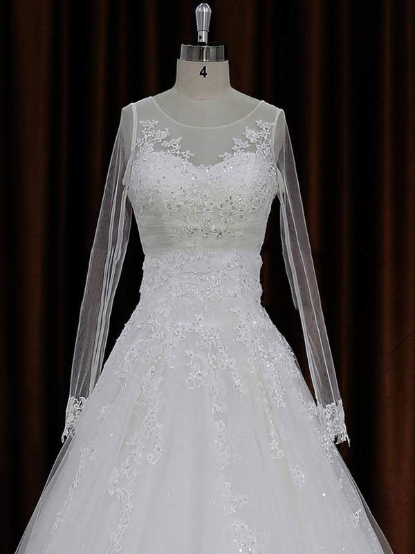 A-line Tulle Appliques Lace Ivory Long Sleeve Chapel Train Wedding Dresses #LDB00022018