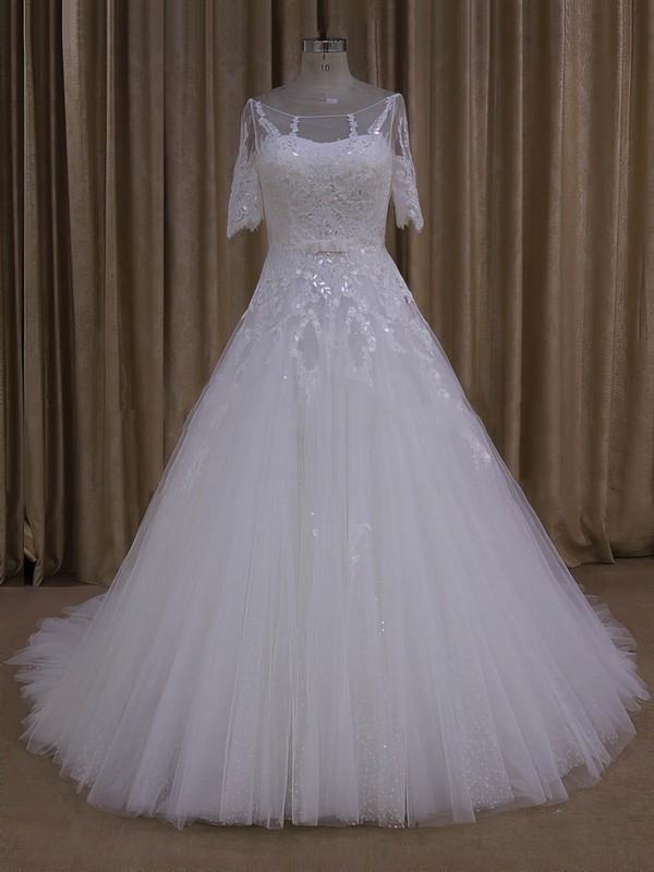 Court Train 1/2 Sleeve Tulle Appliques Lace Ivory Scoop Neck Wedding Dresses #LDB00022019