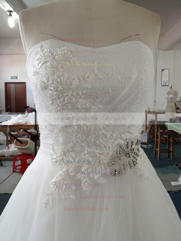 White Promotion Sweetheart Lace Tulle Beading Court Train Wedding Dress #LDB00022020