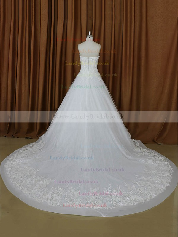 Perfect A-line Tulle Appliques Lace Ivory Sweetheart Wedding Dresses #LDB00022021
