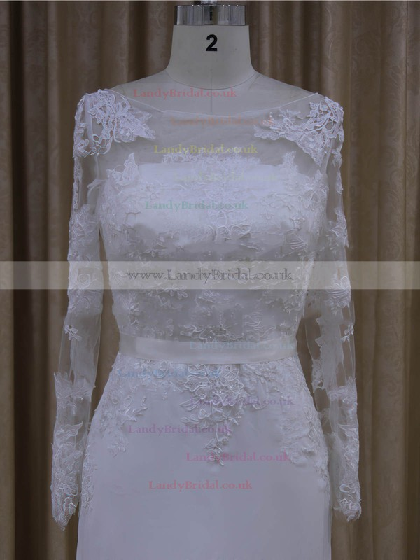 Sheath/Column Long Sleeve Chiffon with Appliques Lace White Scoop Neck Wedding Dresses #LDB00022022