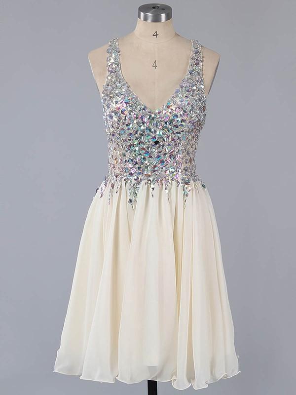 Lavender Chiffon Lace Crystal Detailing Sexy Short/Mini V-neck Prom Dress #LDB02016363