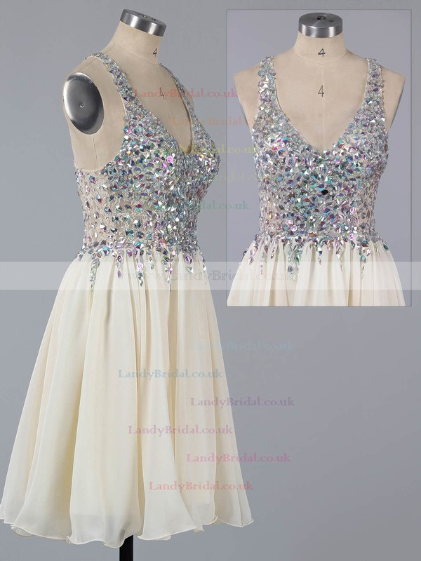 Lavender Chiffon Lace Crystal Detailing Sexy Short/Mini V-neck Prom Dress #LDB02016363