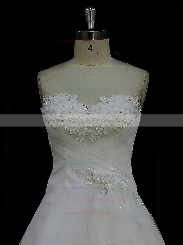Court Train Ivory Discounted Tulle Satin Appliques Lace Sweetheart Wedding Dress #LDB00022023