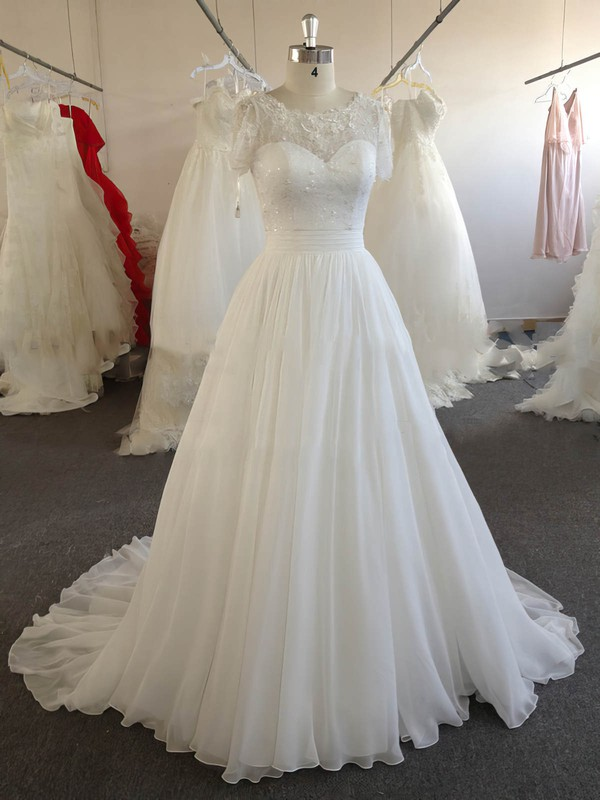 A-line Chiffon Lace Beading Ivory Short Sleeve Scoop Neck Wedding Dresses #LDB00022024